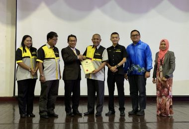 Mr. Hallman (third left) received establishment certificate from Haji Razim (fourth right) as a symbolic of the launching ceremony.